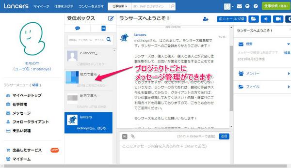 ランサーズのメッセージ機能画面