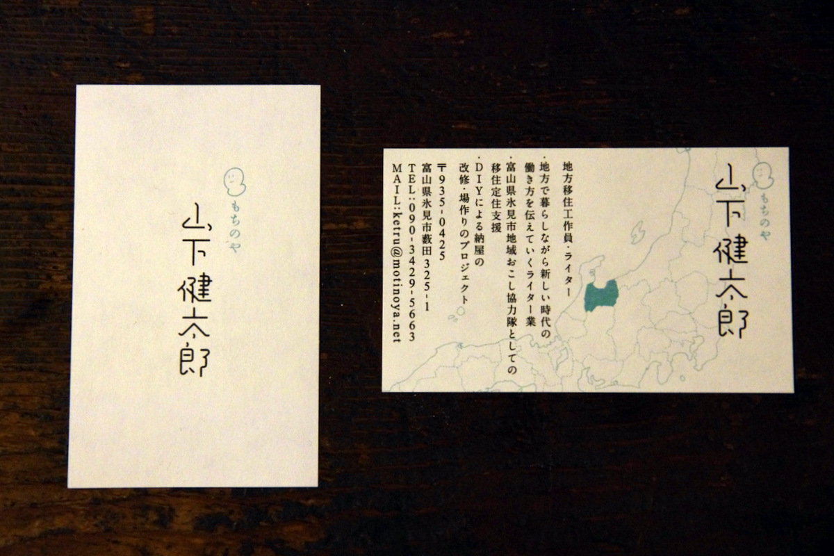 個人名刺:左が表面、右が裏面