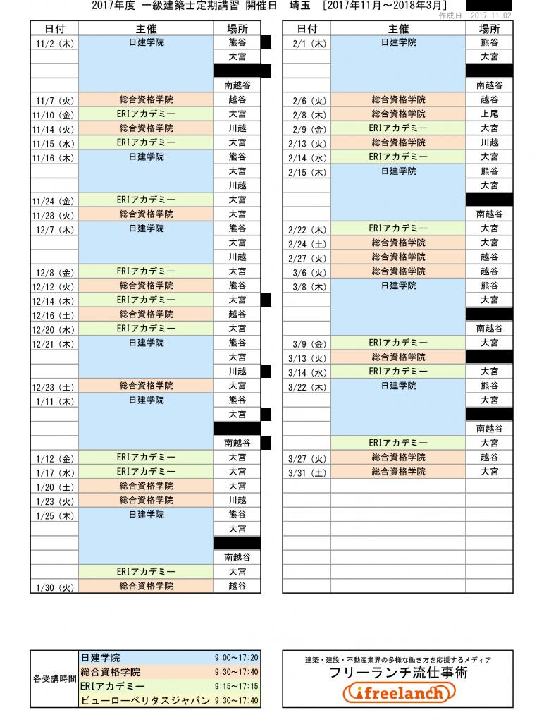 2017年度一級建築士定期講習開催日|埼玉県[2017年11月~2018年3月]