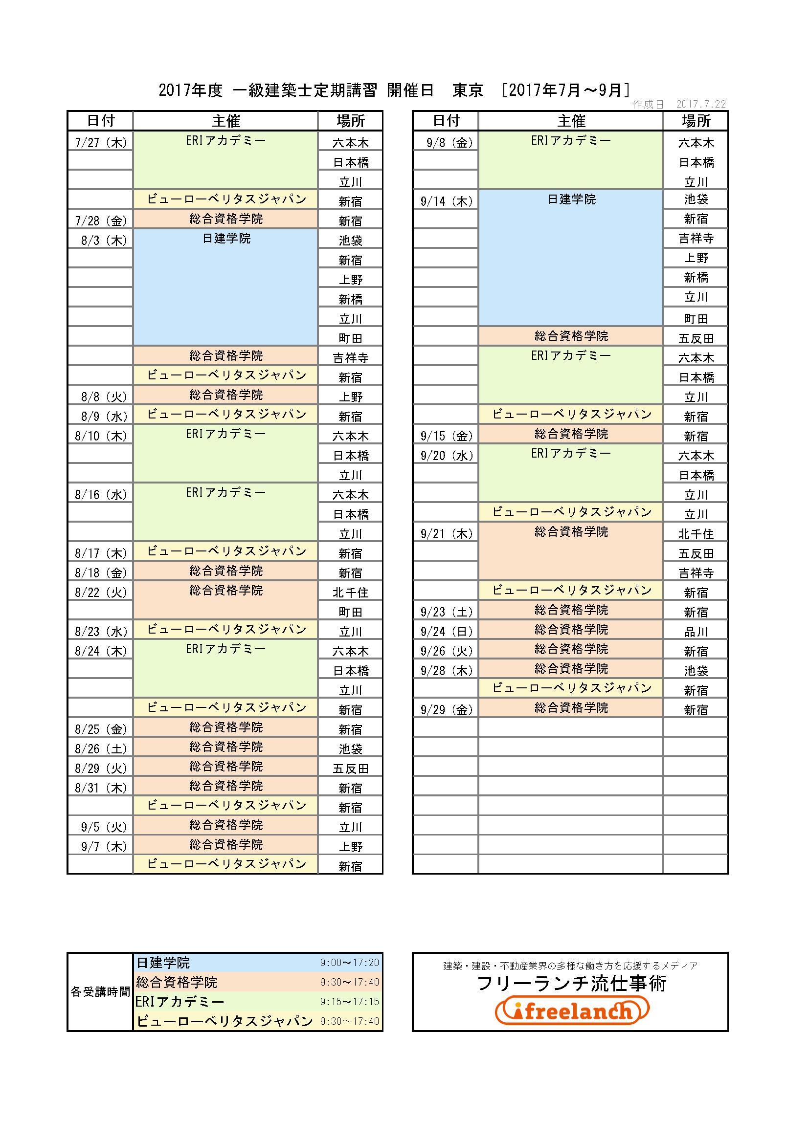 2017年度一級建築士定期講習開催日│東京都[2017年7月〜9月]