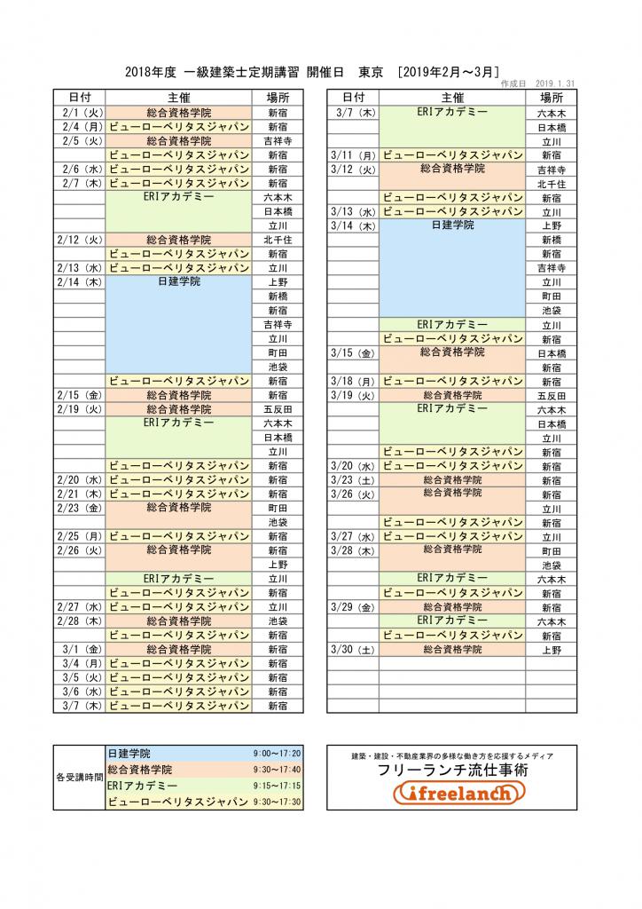 2018年度一級建築士定期講習開催日|東京都[2019年2月~3月]